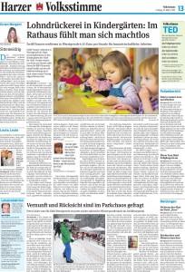 Volksstimme-Artikel vom 15.03.2014 über die Lohndrückerei in Wernigeröder Kindertagesstätten. Autor: Julia Bruns
