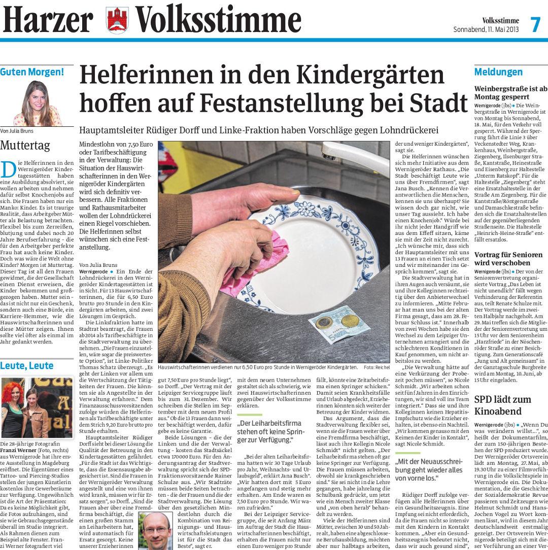 Harzer Volksstimme, Redakteurin Julia Bruns.