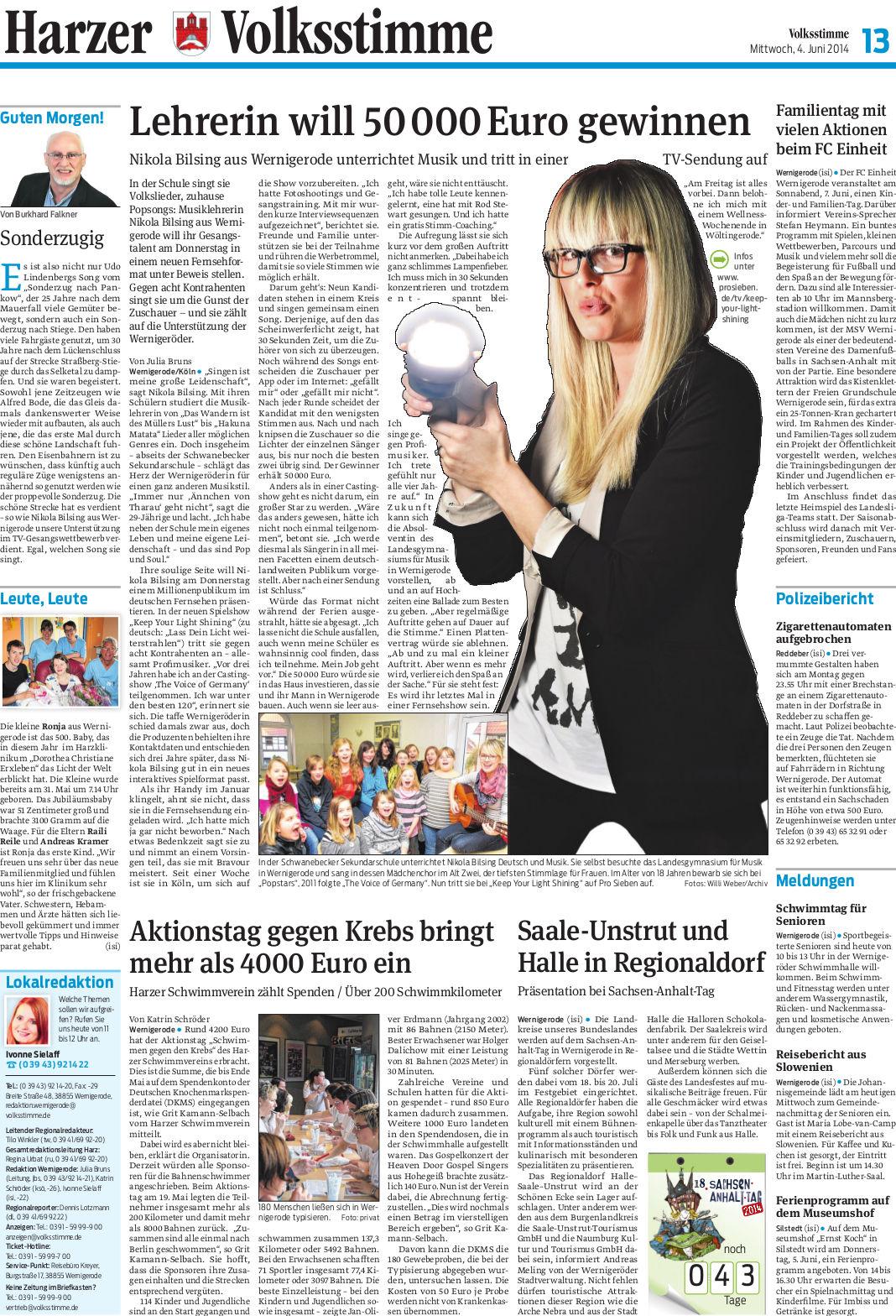 Volksstimme-Artikel über Nicola Bilsing, Sängerin und Lehrerin aus Wernigerode. Autor: Julia Bruns
