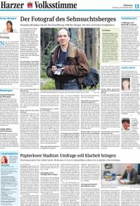 Volksstimme-Artikel über Hansjörg Hörseljau, den Fotografen, der die Wiedervereinigung auf dem Brocken begleitet hat. Autor: Julia Bruns