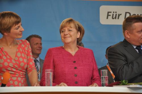 Bundeskanzlerin Angela Merkel bei einer Wahlkampfveranstaltung in Wernigerode.