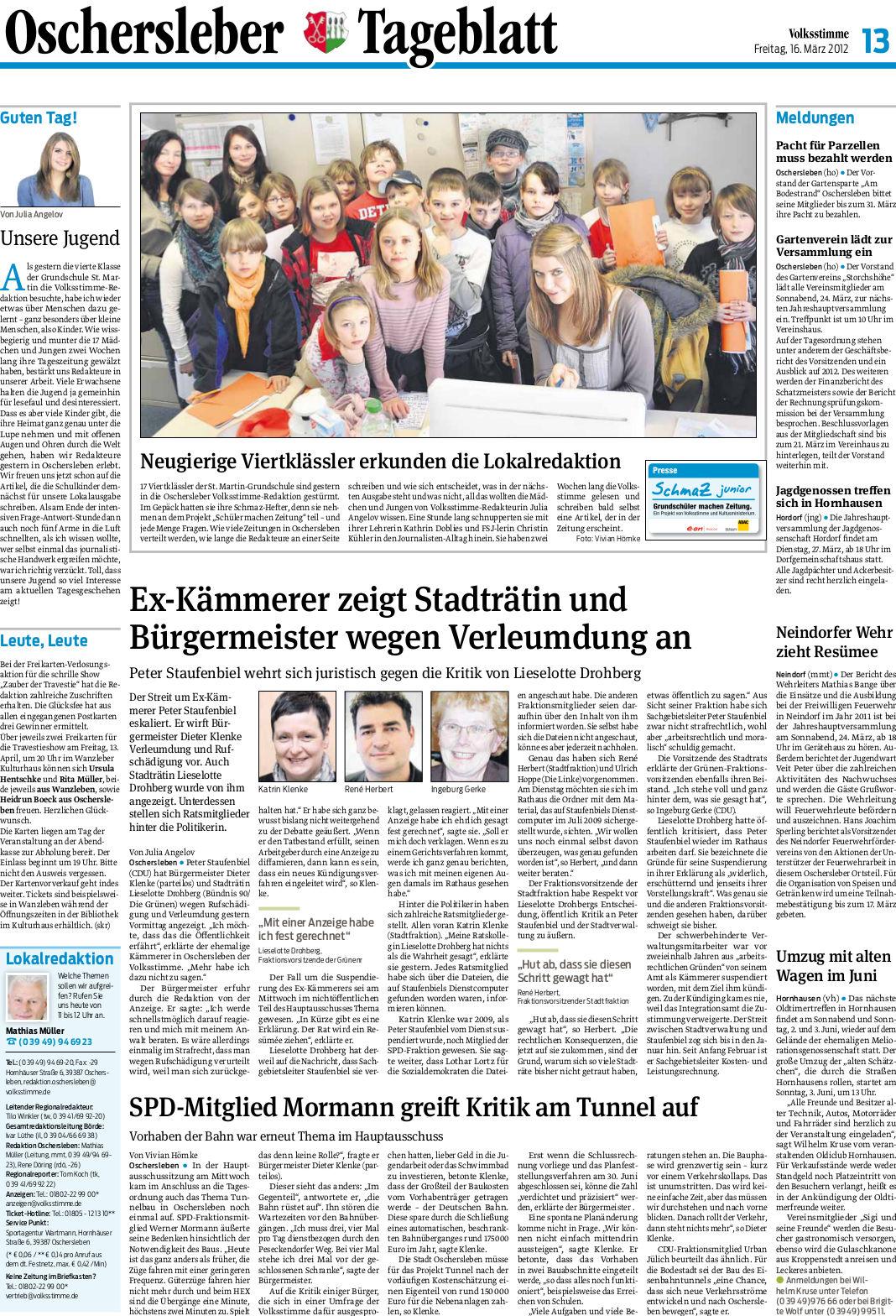 Volksstimme-Artikel über Kämmerer in Oschersleben. Autor: Julia Bruns