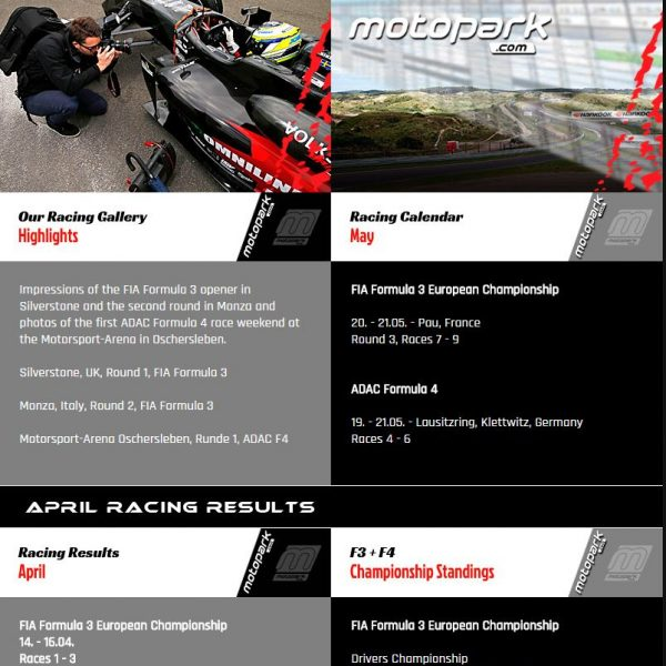 Newsletter für Team Motopark, Race News for Team Motopark, Formula 4, Formula 3 European Championship.