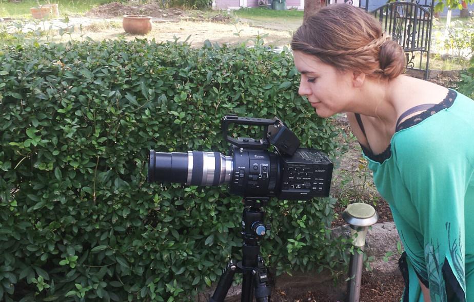 Dreh für die Dokumentation über die Wernigeröder Schlossfestspiele. Hier an der Kamera: Julia Bruns