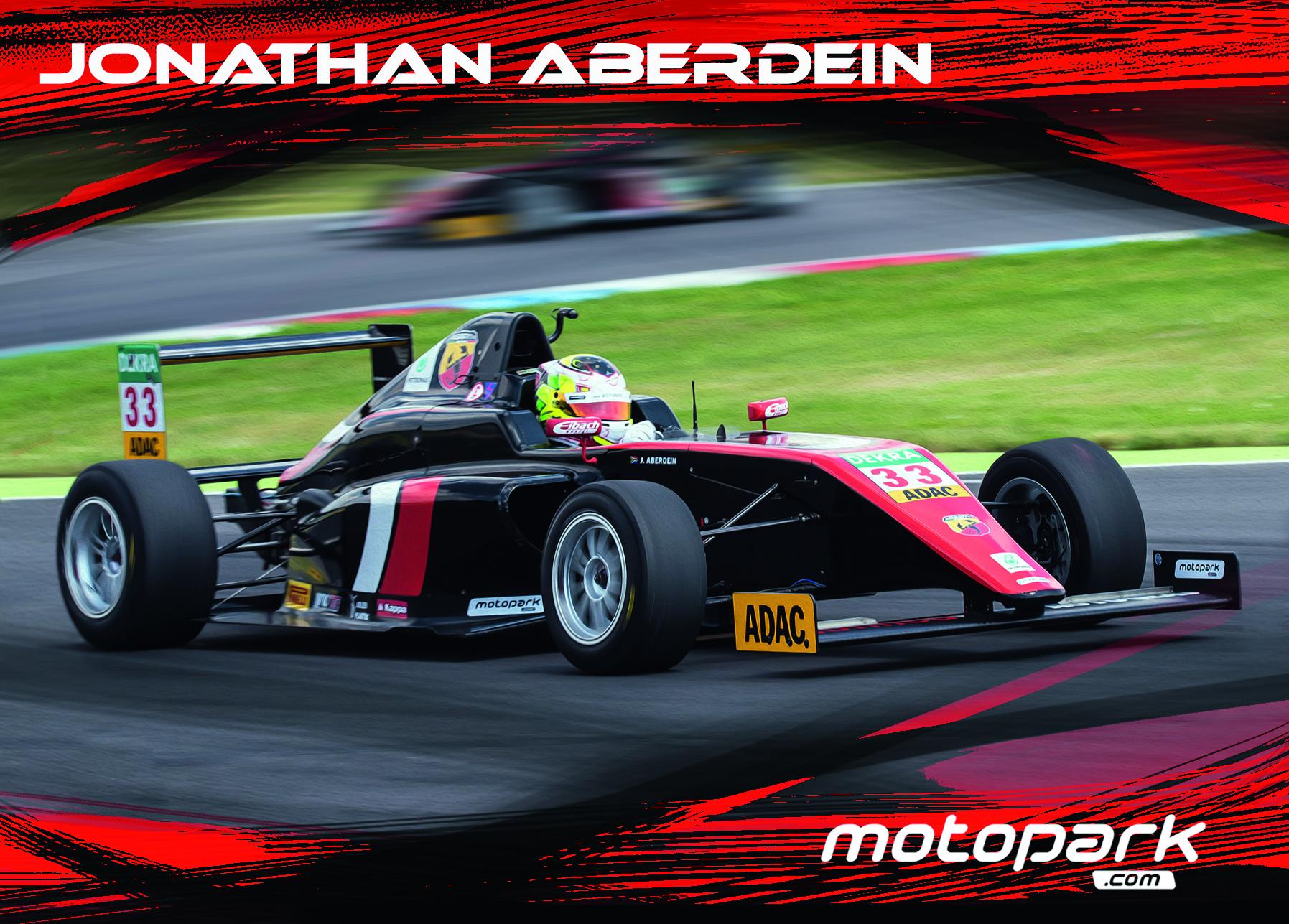 Autogrammkarte des Formel 4-Piloten Jonathan Aberdein.