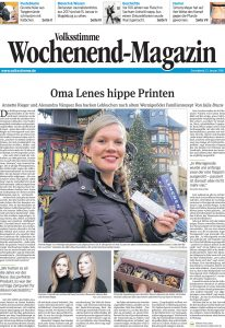 Artikel über die Wernigeröderin Annette Rieger und ihre Cousine Alexandra Vasquez vom 13.01.2018 im Wochenendmagazin der Magdeburger Volksstimme.