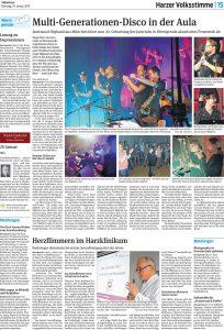 Artikel in der Harzer Volksstimme über das Konzert der Jazzrausch Bigband aus München in der Aula des Gerhart-Hauptmann-Gymnasiums