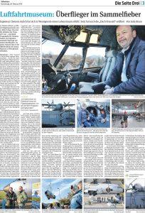 Artikel in der Magdeburger Volksstimme, Seite Drei, über Clemens Aulich, den Besitzer des Luftfahrtmuseums in Wernigerode.