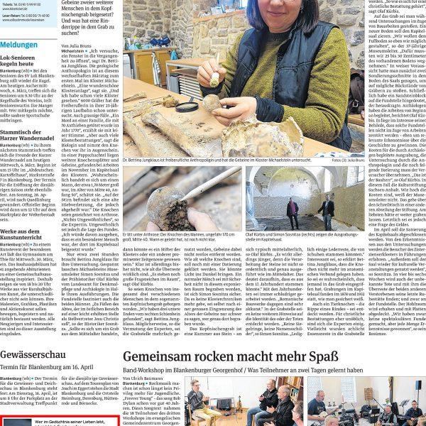Artikel über einen spektakulären archäologischen Fund im Kloster Michaelstein bei Blankenburg.