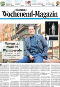 Artikel im Wochenendmagazin über den Opernsänger Bastian Thomas Kohl.